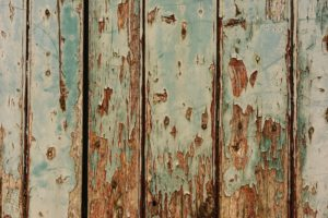 A rotting wood fence