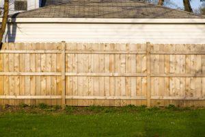 a wood fence installation
