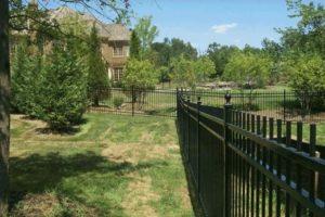 aluminum fences across backyards